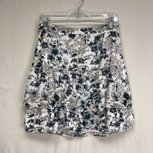 LOFT White/Navy Floral Print Tiered Ruffle Skirt